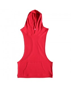 Deep Arm-Cut Sleeveless T-Shirt With Hood