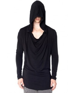 Full Sleeves Loose T-Shirt With Hood